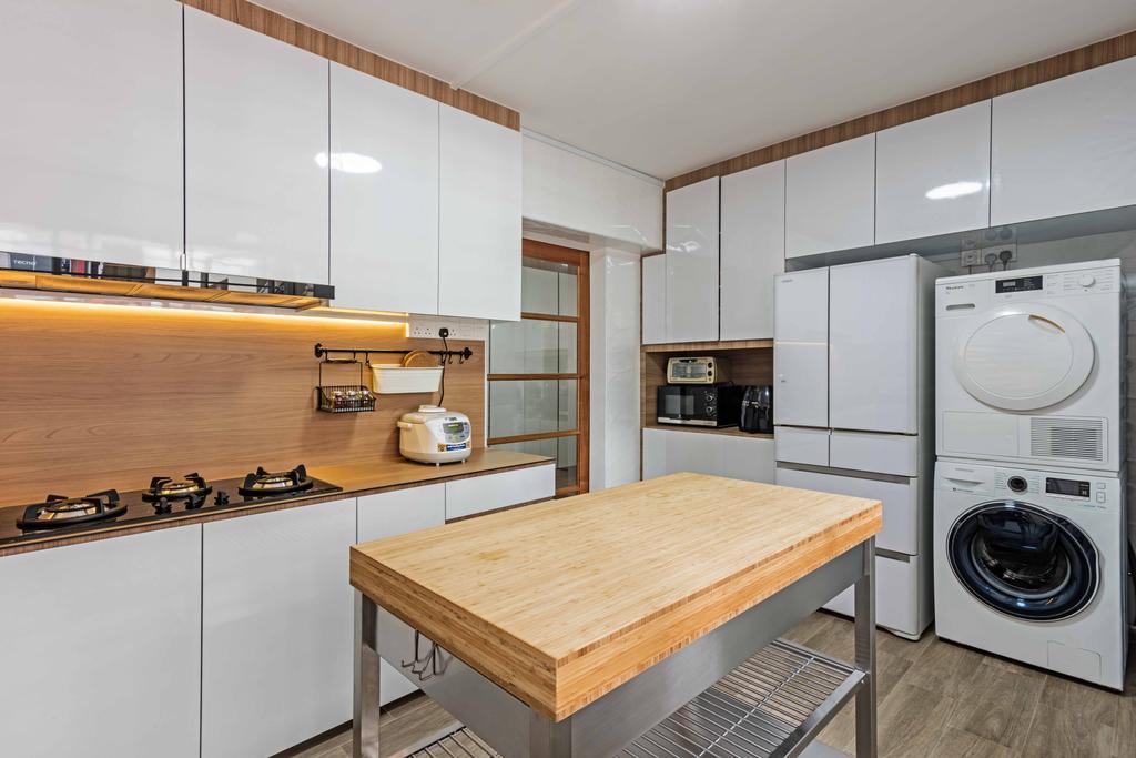 Minimalistic, HDB, Kitchen, Bishan Street 22 (Block 250), Interior Designer, DB Studio, Appliance, Electrical Device, Washer, Indoors, Interior Design, Room