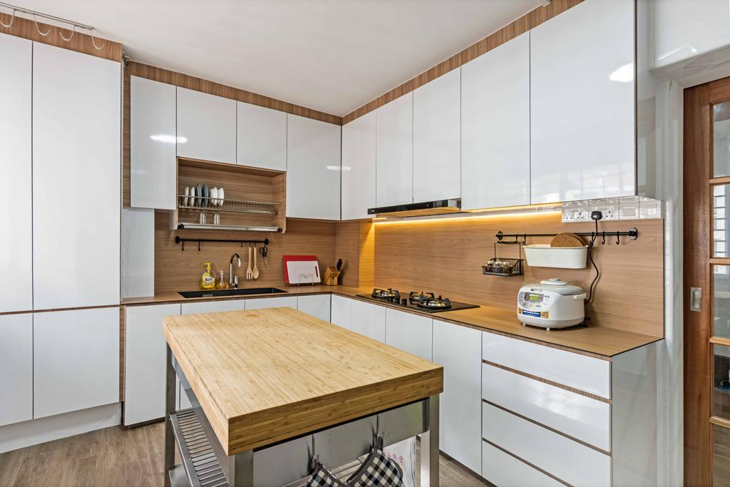 Minimalistic, HDB, Kitchen, Bishan Street 22 (Block 250), Interior Designer, DB Studio, Indoors, Interior Design, Room, Plywood, Wood, Furniture