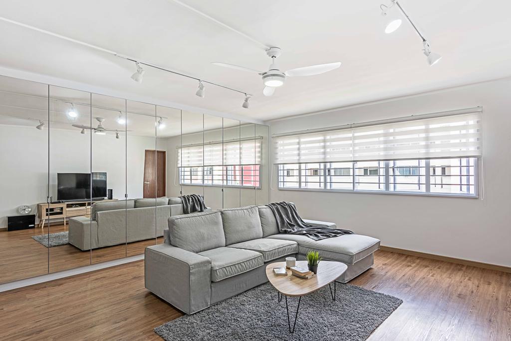 Minimalistic, HDB, Living Room, Bishan Street 22 (Block 250), Interior Designer, DB Studio, Bright, Airy, Couch, Furniture, Indoors, Interior Design