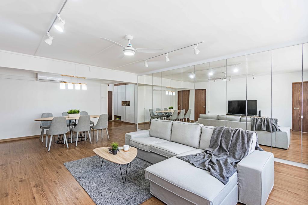 Minimalistic, HDB, Living Room, Bishan Street 22 (Block 250), Interior Designer, DB Studio, Couch, Furniture, Dining Room, Indoors, Interior Design, Room