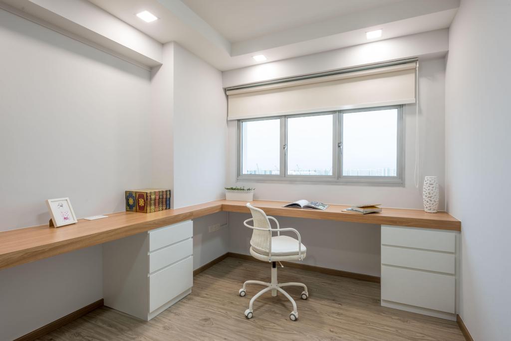 Minimalistic, HDB, Study, Fernvale Link (Block 415B), Interior Designer, DB Studio, Shelf