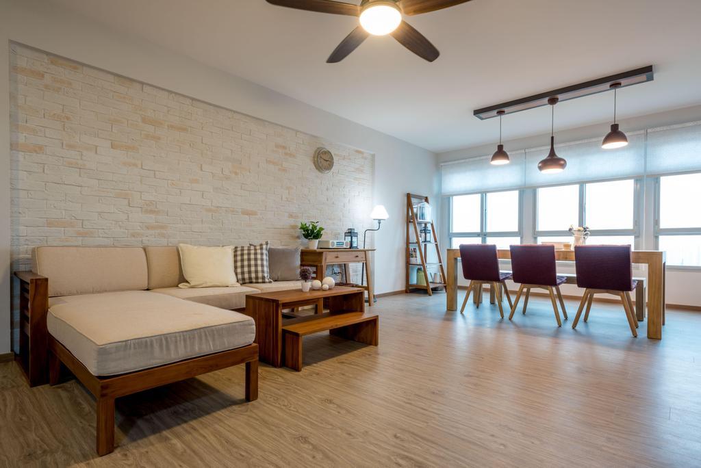 Minimalistic, HDB, Living Room, Fernvale Link (Block 415B), Interior Designer, DB Studio, Zakka, Japanese, Light Fixture, Dining Table, Furniture, Table, Flooring