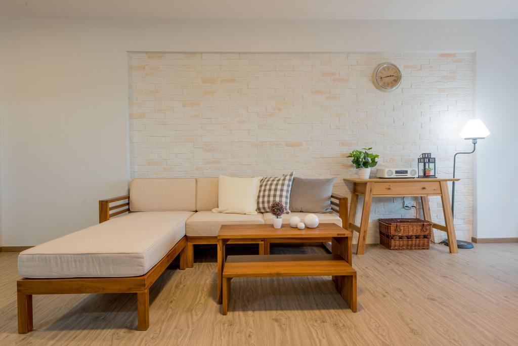 Minimalistic, HDB, Living Room, Fernvale Link (Block 415B), Interior Designer, DB Studio, Muji, White, Woody, Wood Accents, Furniture, Couch