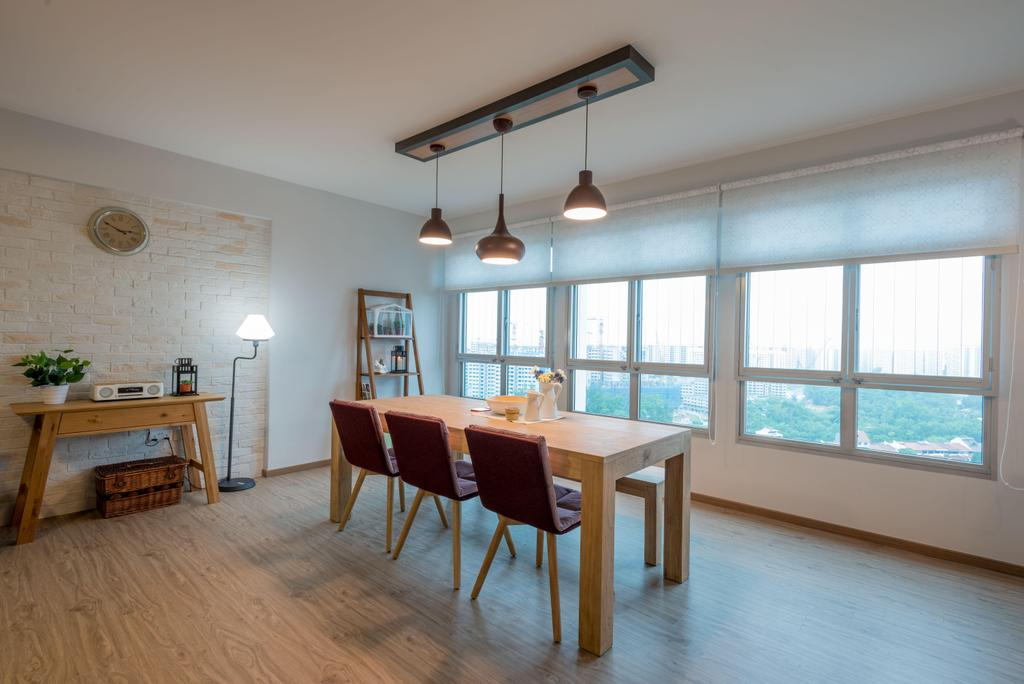 Minimalistic, HDB, Dining Room, Fernvale Link (Block 415B), Interior Designer, DB Studio, Open Space, Indoors, Interior Design, Room, Dining Table, Furniture, Table
