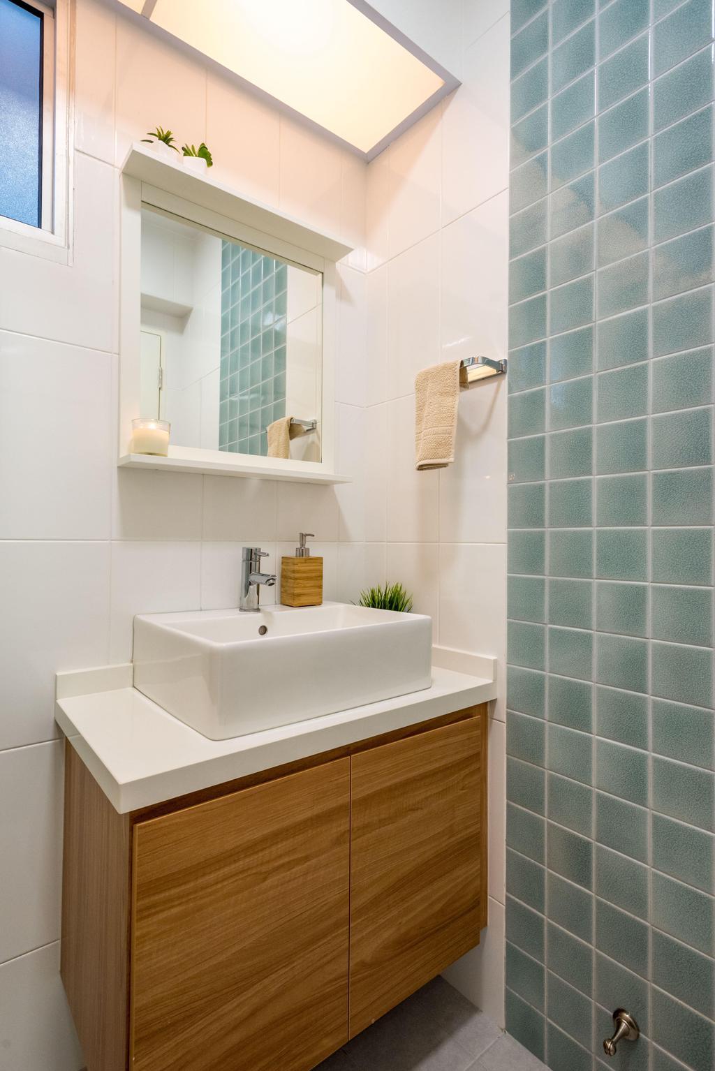Minimalistic, HDB, Bathroom, Fernvale Link (Block 415B), Interior Designer, DB Studio, Indoors, Interior Design, Sink, Room, Tub