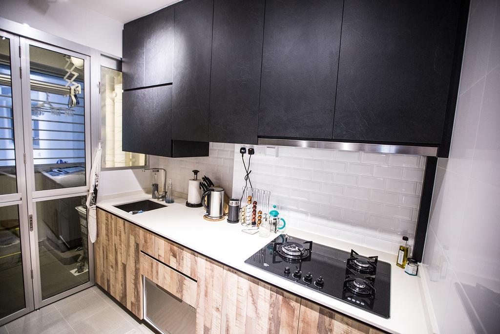 Minimalistic, HDB, Kitchen, Tampines Greenforest (Block 878A), Interior Designer, DB Studio, Industrial, Appliance, Electrical Device, Oven, Indoors, Interior Design, Room