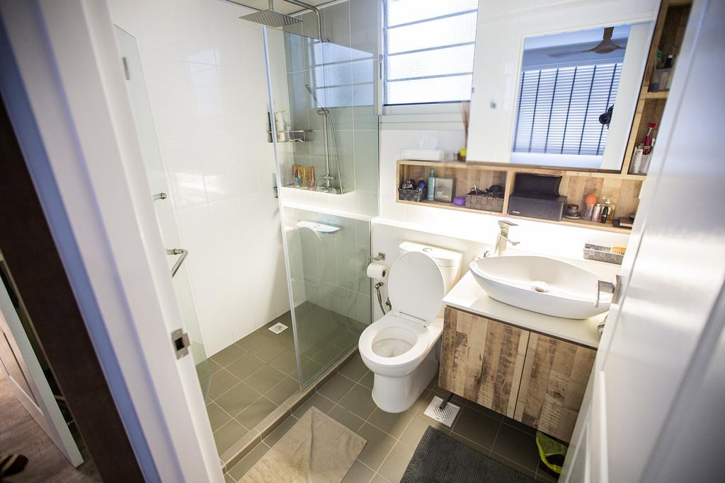 Minimalistic, HDB, Bathroom, Tampines Greenforest (Block 878A), Interior Designer, DB Studio, Industrial, Indoors, Interior Design, Room