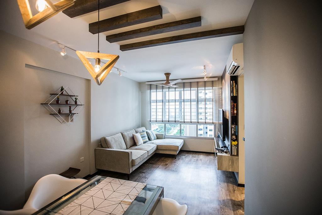 Minimalistic, HDB, Living Room, Tampines Greenforest (Block 878A), Interior Designer, DB Studio, Industrial, Couch, Furniture, Corridor