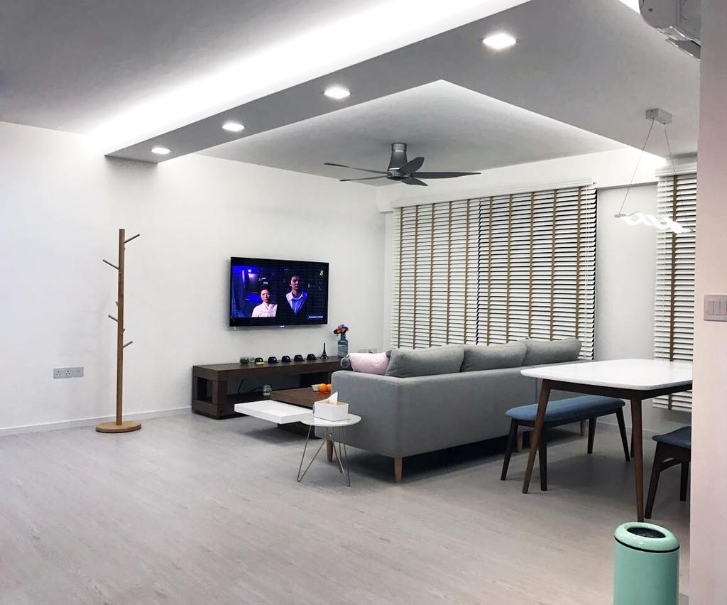 Modern, HDB, Living Room, Keat Hong Axis (Block 809A), Interior Designer, DB Studio, Dining Table, Furniture, Table, Architecture, Building, Skylight, Window, Couch, Chair, Indoors, Room