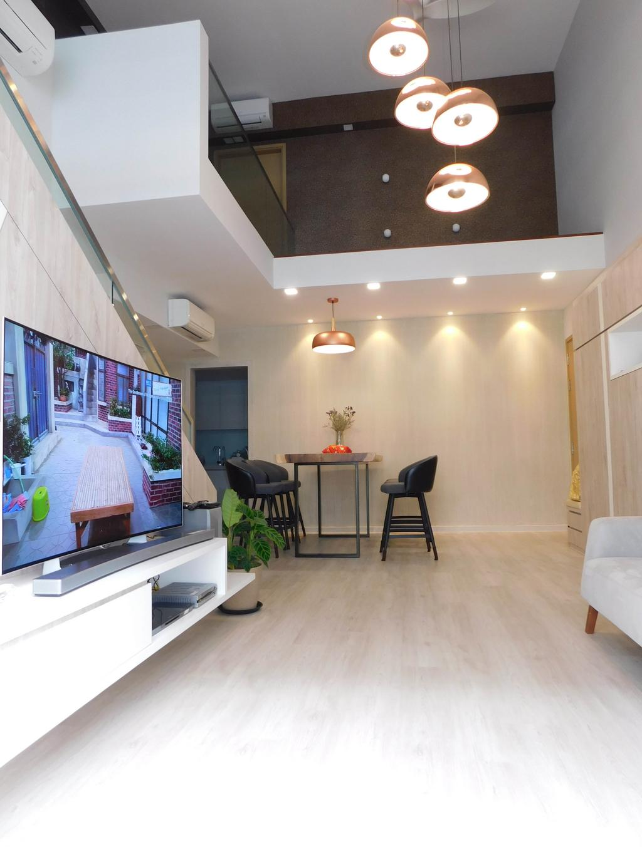 Contemporary, Condo, Living Room, Sky Park, Interior Designer, DB Studio, Bar Stool, Furniture, Flora, Jar, Plant, Potted Plant, Pottery, Vase, Dining Table, Table, Indoors, Interior Design