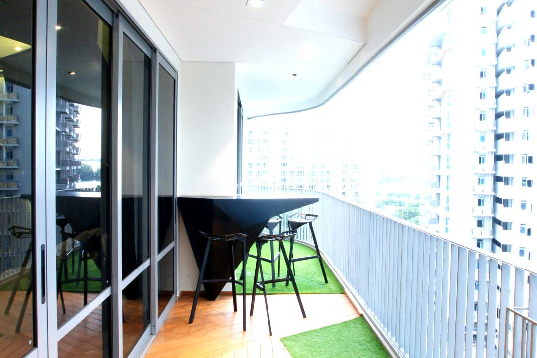 Arc @ Tampines, Metamorph Design, Modern, Balcony, Condo, Ceiling Fan, Fake Grass, Wooden Flooring, Laminated Flooring, Bar Stools, Stools, Bar Countertop, Chair, Furniture, Gate, Turnstile