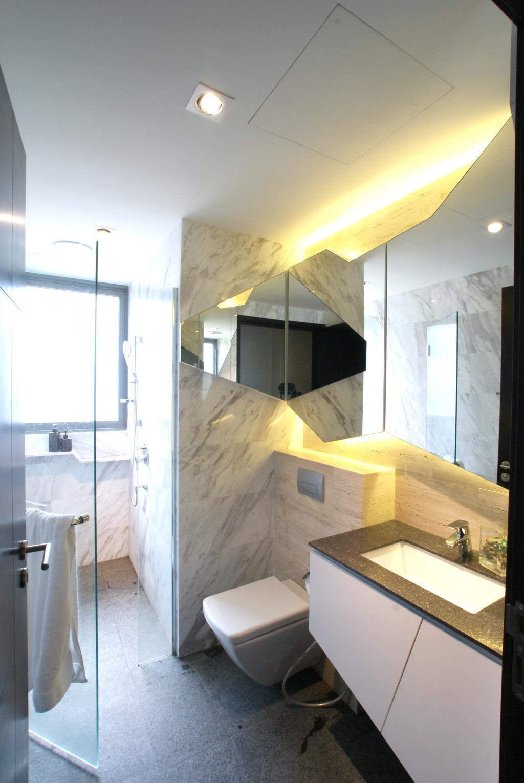 Modern, Condo, Bathroom, Arc @ Tampines, Interior Designer, Metamorph Design, Bathroom Tiles, Marble, Bathroom Sink, Recessed Sink, Bathroom Cabinet, Mirrors, Cove Lighting