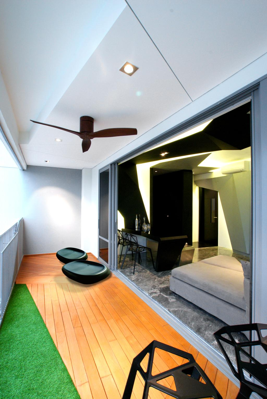 Modern, Condo, Balcony, Arc @ Tampines, Interior Designer, Metamorph Design, Ceiling Fan, Fake Grass, Wooden Flooring, Laminated Flooring, Chair, Furniture, Indoors, Interior Design