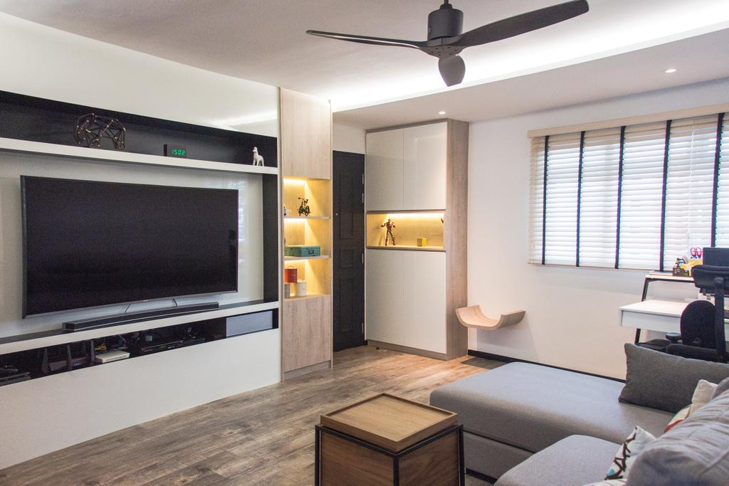 Minimalistic, HDB, Living Room, Ang Mo Kio Avenue 3 (Block 562), Interior Designer, DB Studio, Couch, Furniture