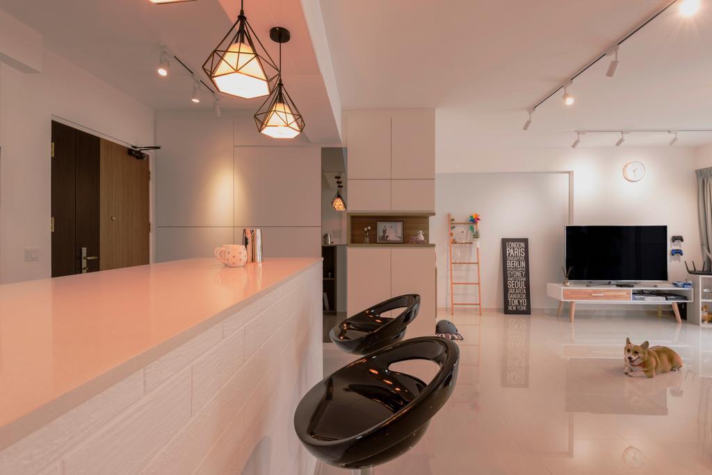 Scandinavian, HDB, Dining Room, Compassvale Crescent (Block 288B), Interior Designer, Colourbox Interior, Indoors, Interior Design, Lighting, Electronics, Entertainment Center