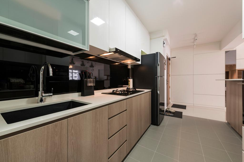 Scandinavian, HDB, Kitchen, Compassvale Crescent (Block 288B), Interior Designer, Colourbox Interior, Tap, Indoors, Interior Design, Room