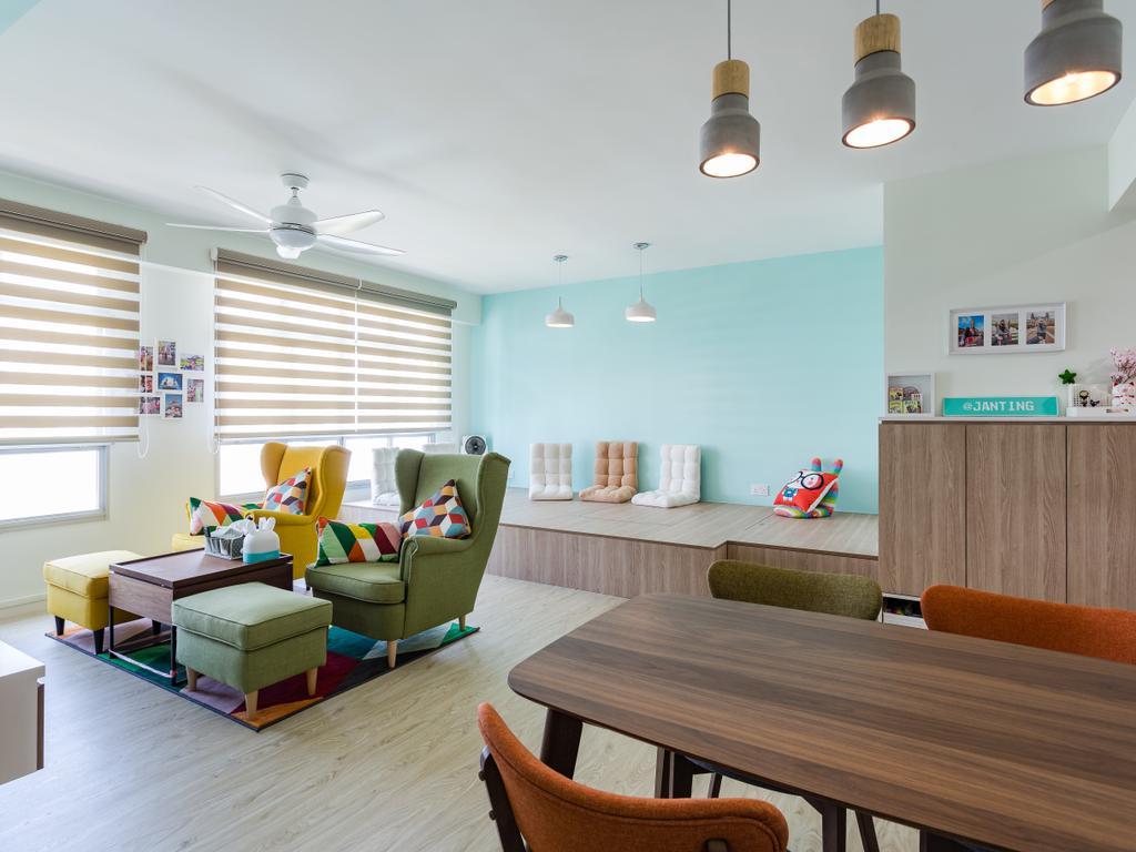 Scandinavian, HDB, Living Room, Yishun Street 51, Interior Designer, Ascenders Design Studio, Couch, Furniture, Hardwood, Stained Wood, Wood, Dining Room, Indoors, Interior Design, Room
