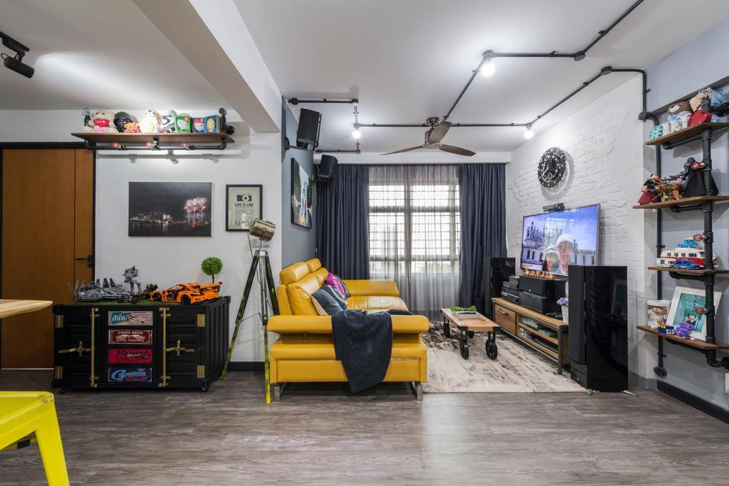 Industrial, HDB, Living Room, Punggol Central (Block 602B), Interior Designer, IdeasXchange, Couch, Furniture, Shelf, Bench