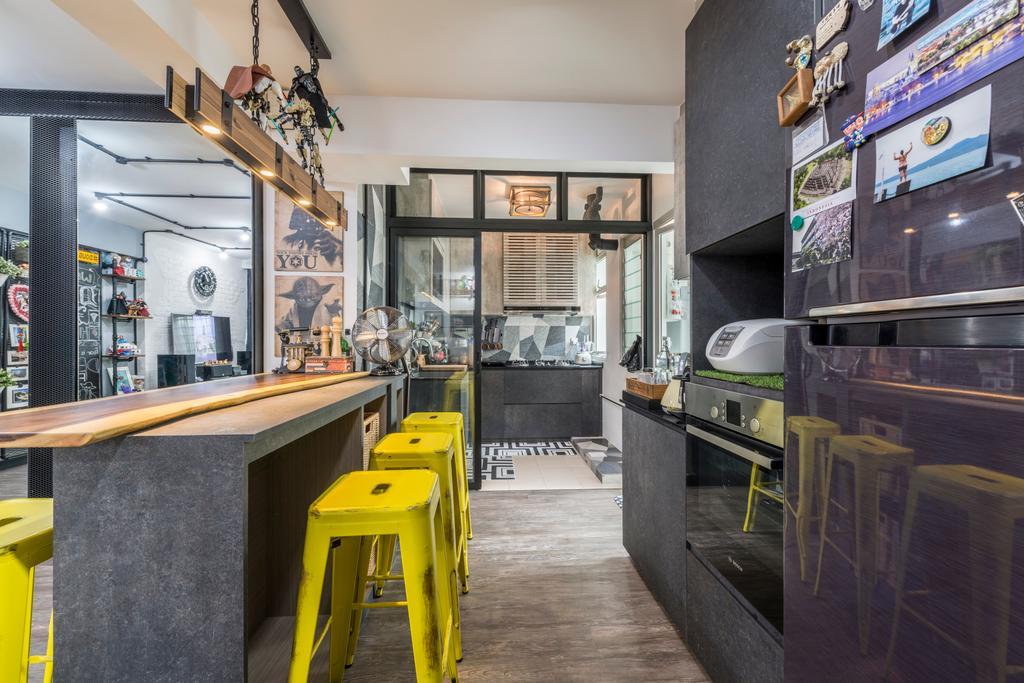 Industrial, HDB, Kitchen, Punggol Central (Block 602B), Interior Designer, IdeasXchange