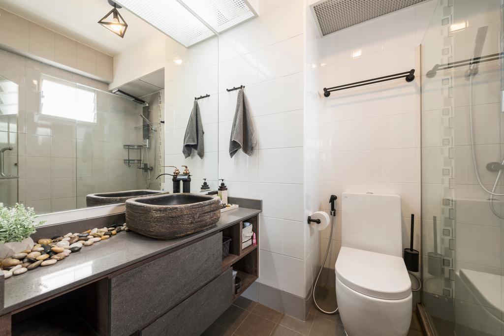 Industrial, HDB, Bathroom, Punggol Central (Block 602B), Interior Designer, IdeasXchange, Toilet, Indoors, Interior Design, Room