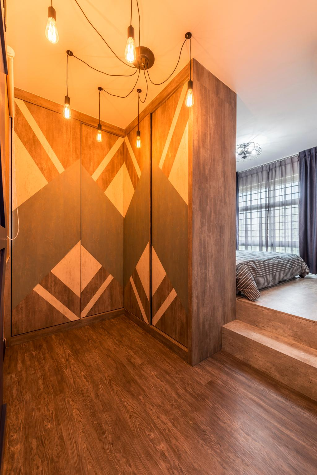 Industrial, HDB, Bedroom, Punggol Central (Block 602B), Interior Designer, IdeasXchange, Hardwood, Wood