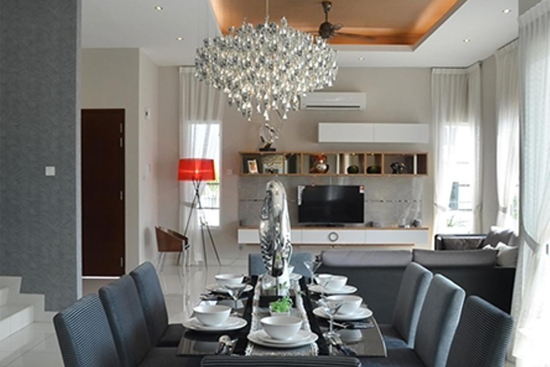 Hillcrest, The Arch, Modern, Dining Room, Landed, Couch, Furniture, Indoors, Interior Design, Room, Tabletop, Electronics, Entertainment Center, Chandelier, Lamp, Chair
