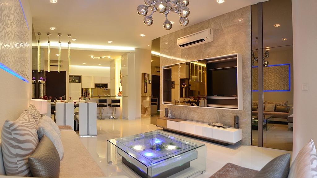 Modern, Condo, Living Room, Fortune Perdana Lakeside Residences, Interior Designer, The Arch, Couch, Furniture, Jacuzzi, Tub, Indoors, Interior Design, Electronics, Entertainment Center