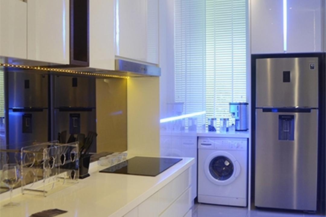 Ashton Tower, The Arch, Modern, Kitchen, Condo, Appliance, Electrical Device, Washer, Fridge, Refrigerator