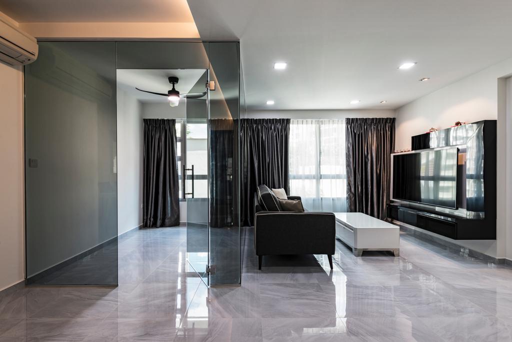 Modern, HDB, Living Room, Upper Serangoon Crescent, Interior Designer, Fifth Avenue Interior, Curtain, Home Decor, Couch, Furniture, Floor, Dining Table, Table