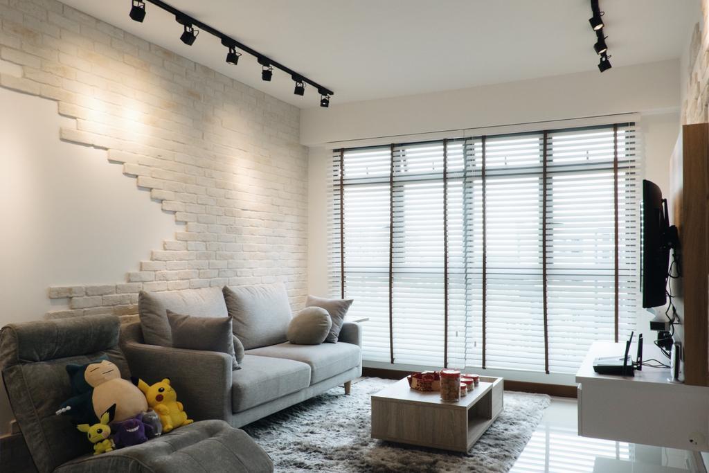 Minimalistic, HDB, Living Room, Punggol Way (Block 315A), Interior Designer, Fifth Avenue Interior, Couch, Furniture, Sink, Indoors, Interior Design, Room
