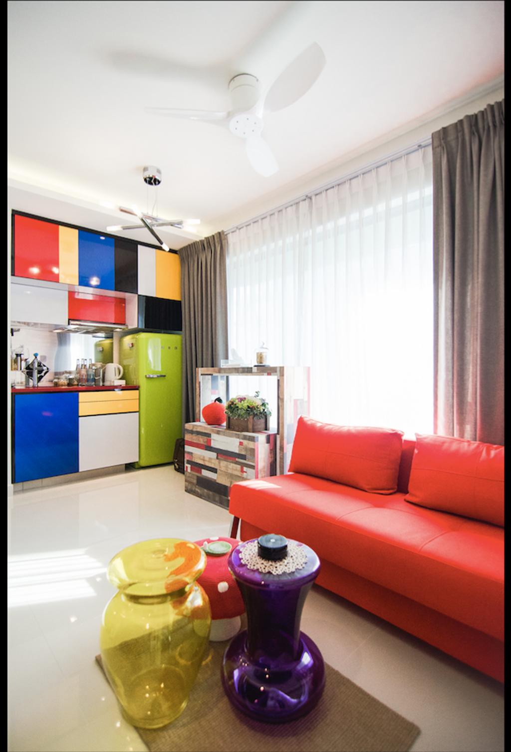 Retro, Condo, Living Room, Aspen LinQ, Interior Designer, Create, Eclectic, Indoors, Interior Design, Couch, Furniture