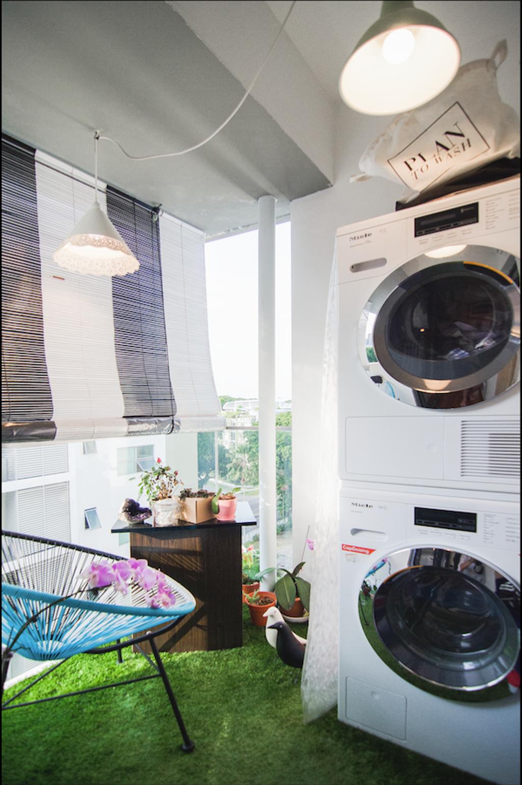 Retro, Condo, Balcony, Aspen LinQ, Interior Designer, Create, Eclectic, Appliance, Electrical Device, Washer