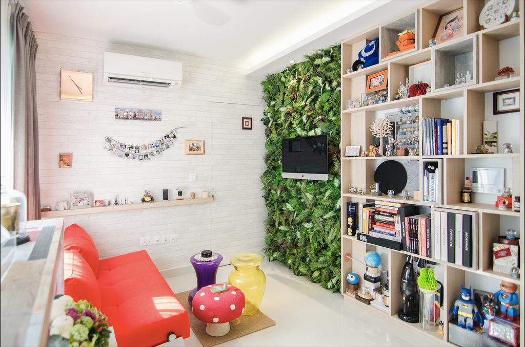 Retro, Condo, Living Room, Aspen LinQ, Interior Designer, Create, Eclectic, Bookcase, Furniture, Flora, Jar, Plant, Potted Plant, Pottery, Vase, Shelf, Indoors, Interior Design