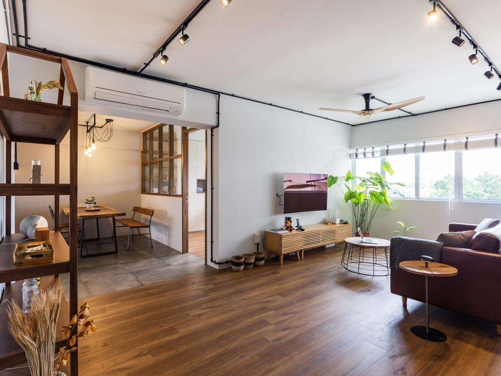 Eclectic, HDB, Living Room, Serangoon Avenue 1, Interior Designer, Prozfile Design, Flooring, Dining Table, Furniture, Table, Balcony