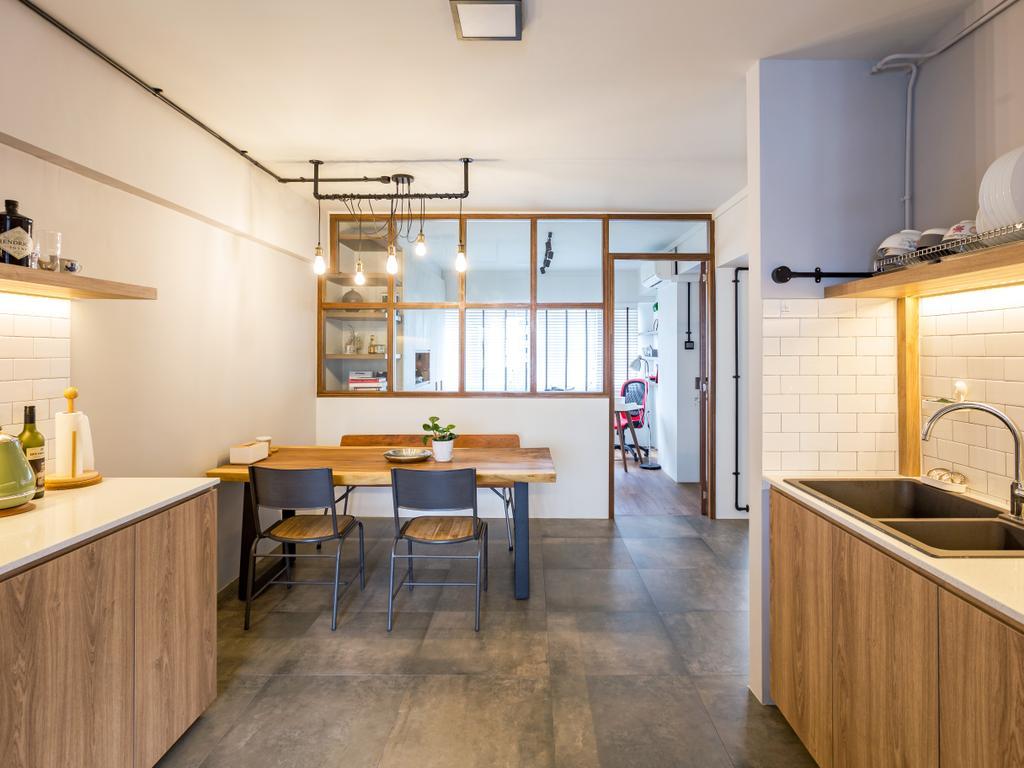 Eclectic, HDB, Dining Room, Serangoon Avenue 1, Interior Designer, Prozfile Design, Dining Table, Furniture, Table, Chair, Indoors, Interior Design, Kitchen, Room