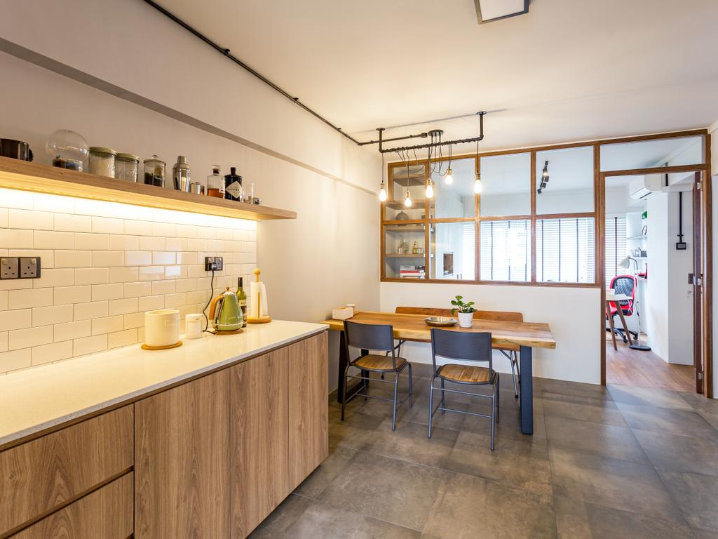 Eclectic, HDB, Kitchen, Serangoon Avenue 1, Interior Designer, Prozfile Design, Dining Table, Furniture, Table, Chair, Indoors, Interior Design