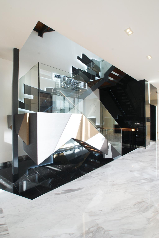 Modern, Landed, 9 Springleaf, Interior Designer, Metamorph Design, Staircase, Futuristic, Glass Staircase, Appliance, Electrical Device, Oven, Triangle, Indoors, Interior Design