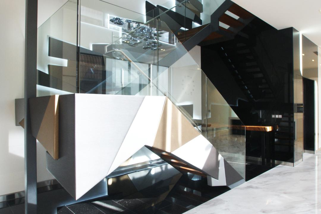 9 Springleaf, Metamorph Design, Modern, Landed, Staircase, Futuristic, Glass Staircase, Appliance, Electrical Device, Oven, Triangle, Indoors, Interior Design
