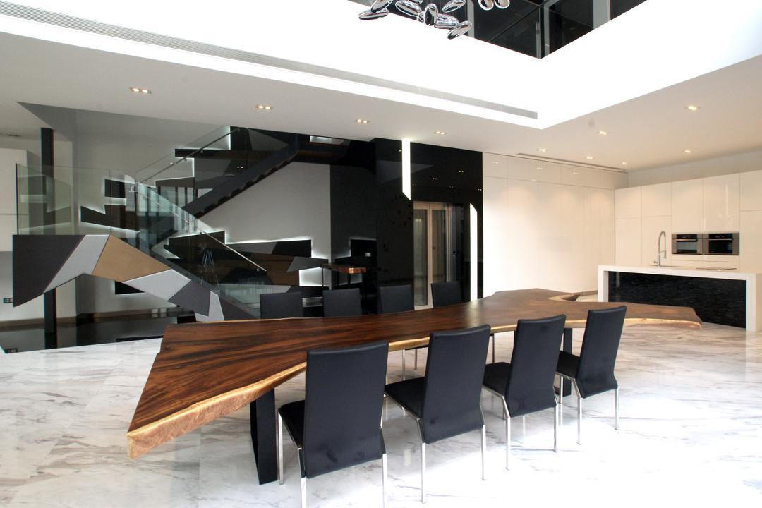 9 Springleaf, Metamorph Design, Modern, Dining Room, Landed, Black White, Monochrome, Marble Flooring, Dining Table, Unique Dining Table, Dining Chairs, Furniture, Table, Banister, Handrail, Staircase, Couch, Chair, Indoors, Interior Design