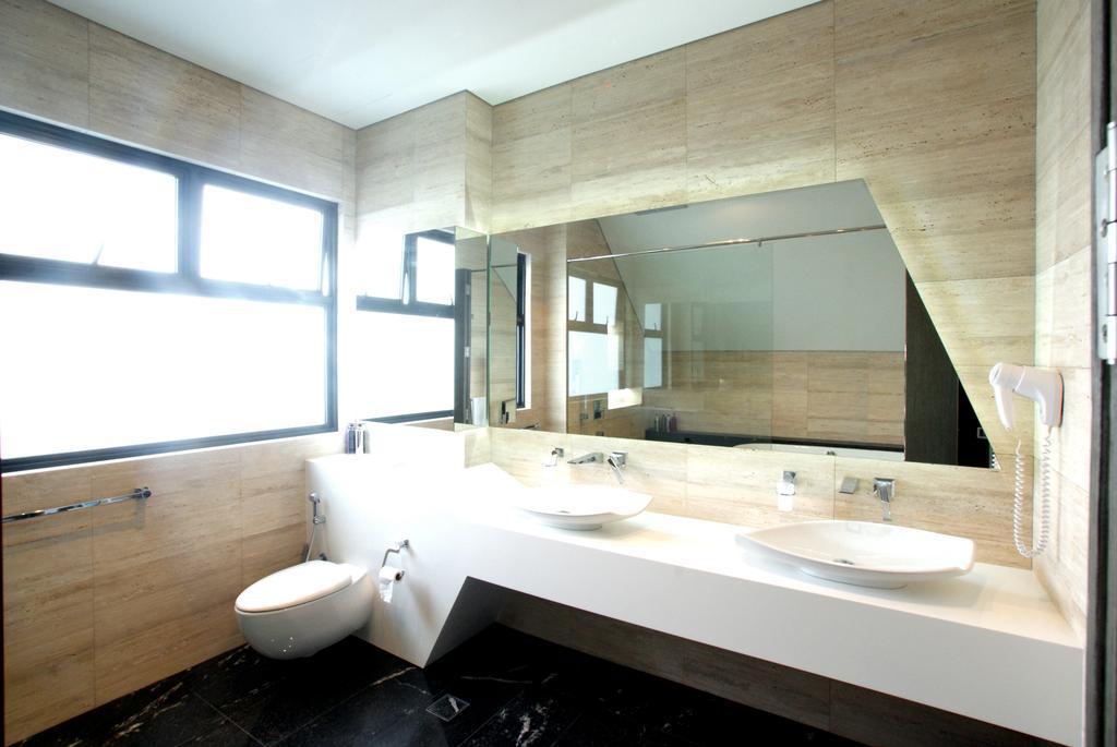 Modern, Landed, Bathroom, 9 Springleaf, Interior Designer, Metamorph Design, Bathroom Vanities, Double Sink, White Bathroom, Neutral Colours, Neutral Palette, Brown Tiles, Bathroom Tiles, Indoors, Interior Design, Room, Dining Table, Furniture, Table