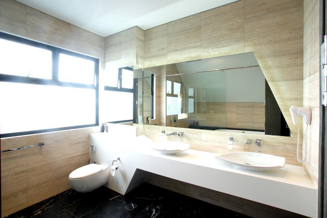 9 Springleaf, Metamorph Design, Modern, Bathroom, Landed, Bathroom Vanities, Double Sink, White Bathroom, Neutral Colours, Neutral Palette, Brown Tiles, Bathroom Tiles, Indoors, Interior Design, Room, Dining Table, Furniture, Table
