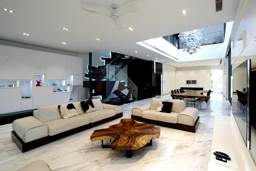 9 Springleaf, Metamorph Design, Modern, Living Room, Landed, Marble Flooring, White Sofa, Sofa, Couch, Coffee Table, White, Clean, Ceiling Fan, White Shelves, Shelving, Cabinets, Display Cabinets, Indoors, Interior Design, Furniture
