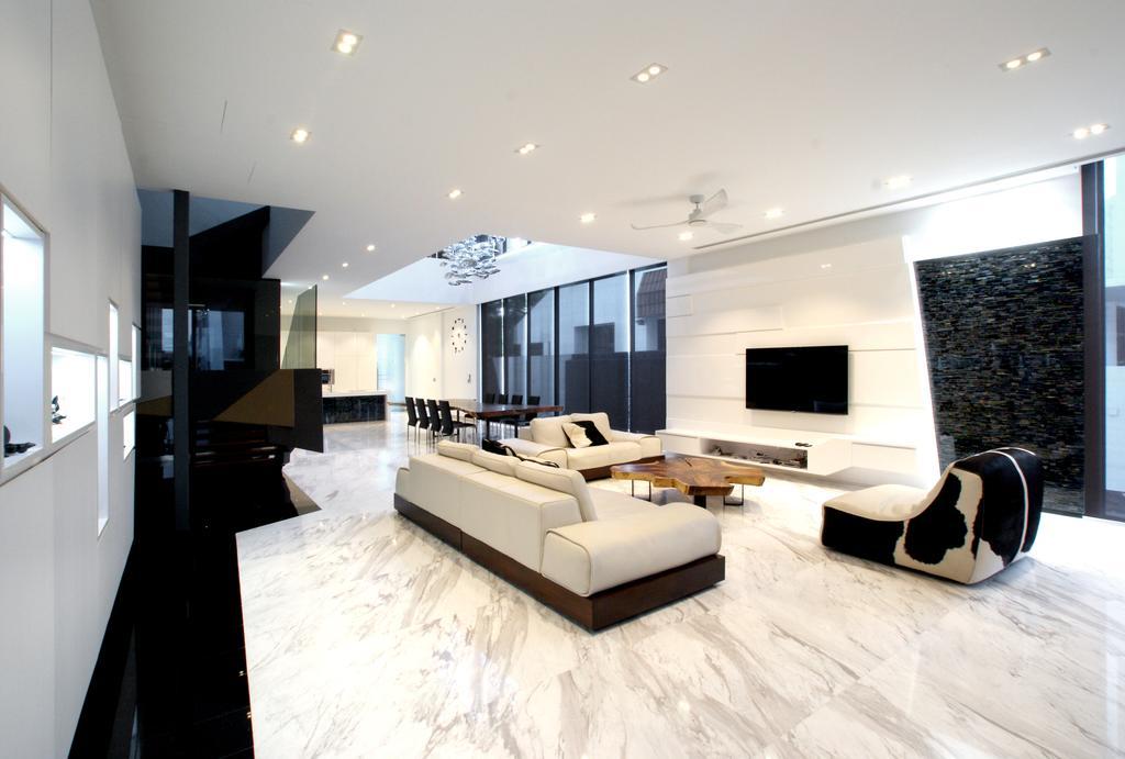 Modern, Landed, Living Room, 9 Springleaf, Interior Designer, Metamorph Design, Recessed Lighting, Marble Flooring, Feature Wall, White Sofa, Sofa, Couch, White, Clean, Cowhide, Cowhide Furniture, HDB, Building, Housing, Indoors, Loft, Interior Design, Furniture
