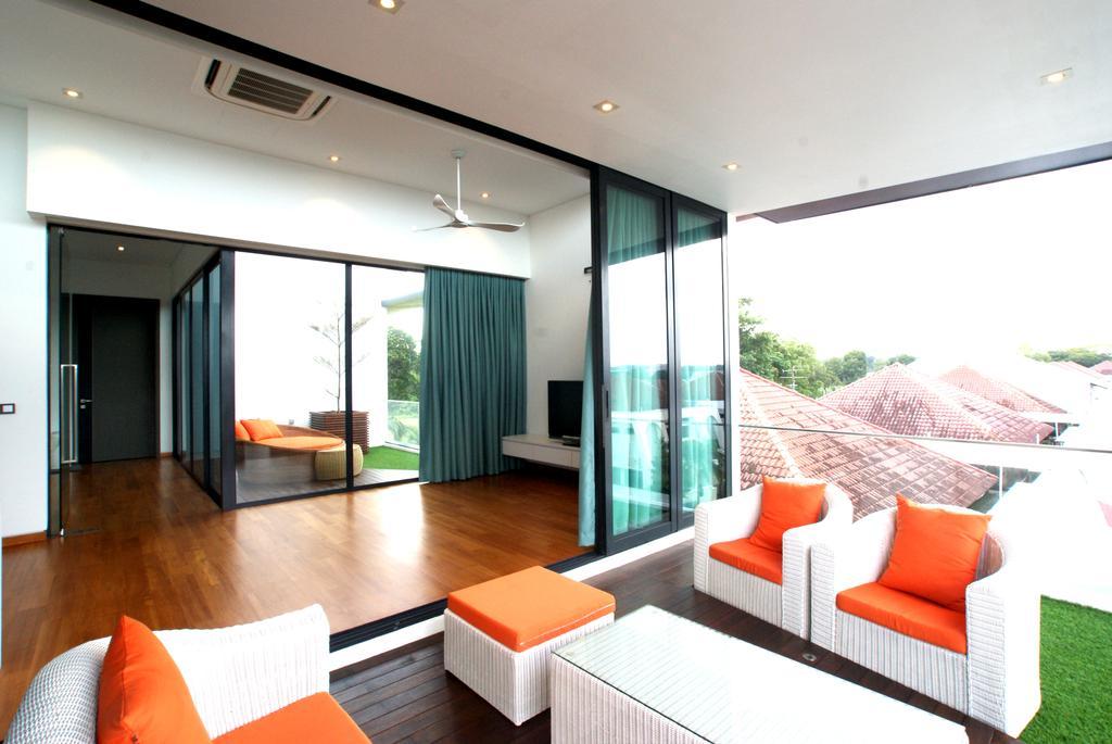 Modern, Landed, Living Room, 9 Springleaf, Interior Designer, Metamorph Design, Balcony, Balcony Furniture, Orange, Bright Colours, Natural Light, Natural Lighting, Sliding Door, Door, Curtain, Home Decor, Indoors, Interior Design