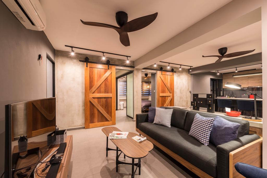 Industrial, HDB, Living Room, Bukit Batok West, Interior Designer, Posh Living Interior Design, Couch, Furniture, Dining Table, Table, Indoors, Room
