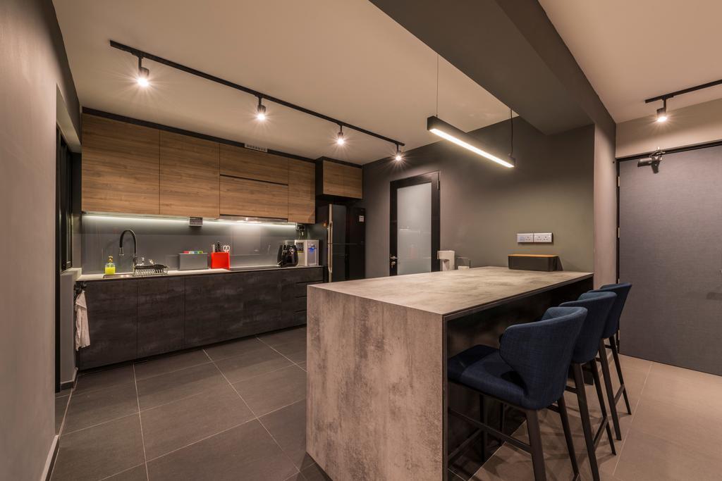 Industrial, HDB, Kitchen, Bukit Batok West, Interior Designer, Posh Living Interior Design, Chair, Furniture, Plywood, Wood