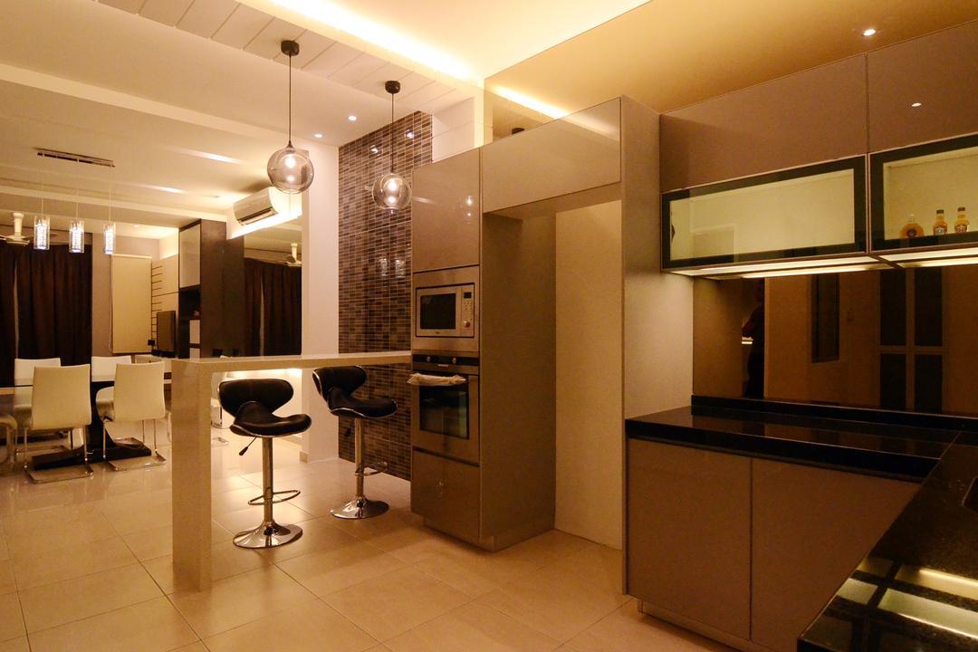 Setia Vista, JGiConcept Design, Contemporary, Kitchen, Landed, Bar Stool, Furniture, Basement, Indoors, Room