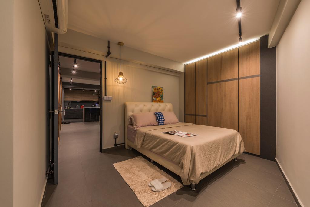 Industrial, HDB, Bedroom, Bukit Batok West, Interior Designer, Posh Living Interior Design, Bed, Furniture, Indoors, Interior Design