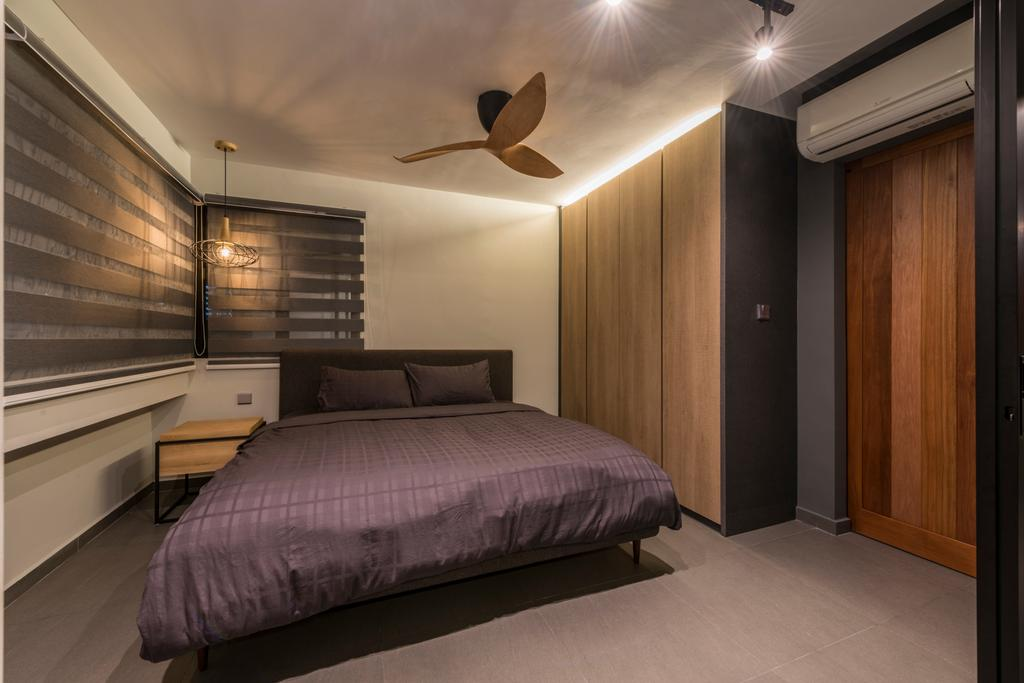 Industrial, HDB, Bedroom, Bukit Batok West, Interior Designer, Posh Living Interior Design, Molding, Indoors, Interior Design, Room, Bed, Furniture