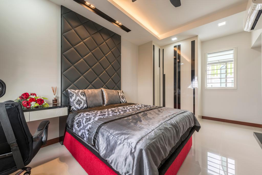 Traditional, HDB, Bedroom, Tree Trail (Block 890B), Interior Designer, Posh Living Interior Design, Bed, Furniture, Indoors, Interior Design, Room, Window, Building, Housing, Loft, Chair, Molding